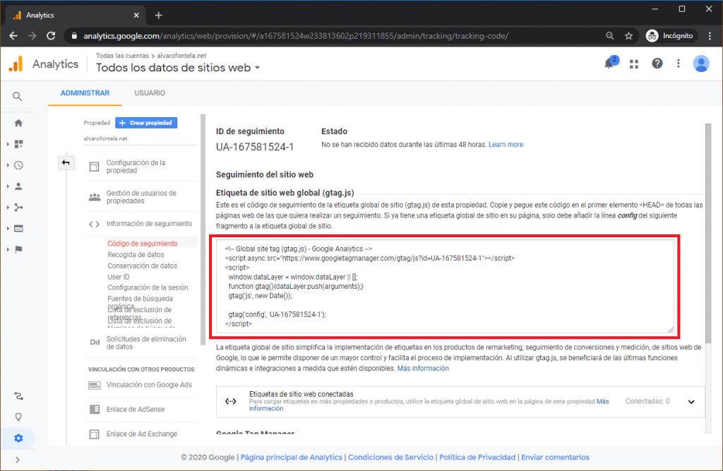 Google Analytics código de seguimiento