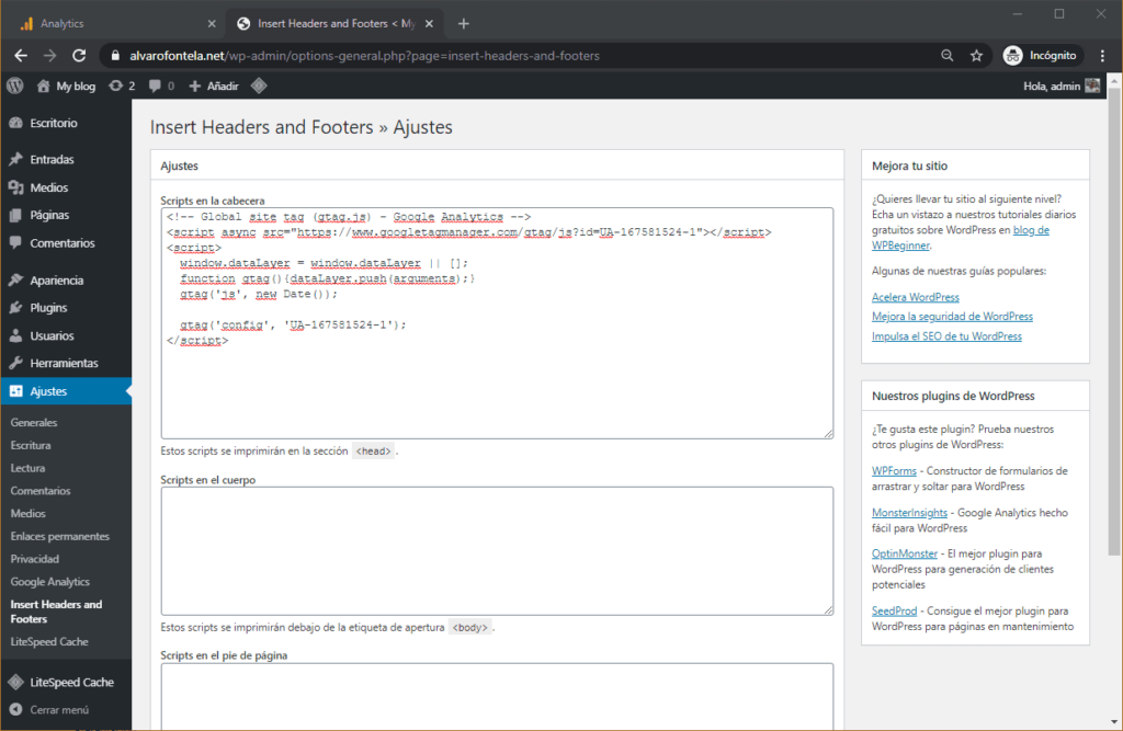 Ajustes Analytics en WordPress