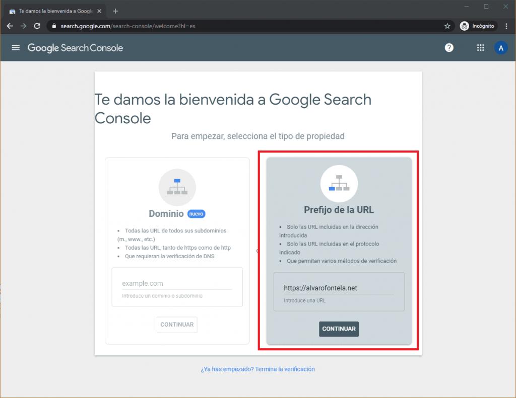 Crear cuenta en Google Search Console