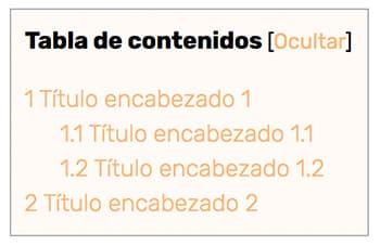 indice tabla de contenidos