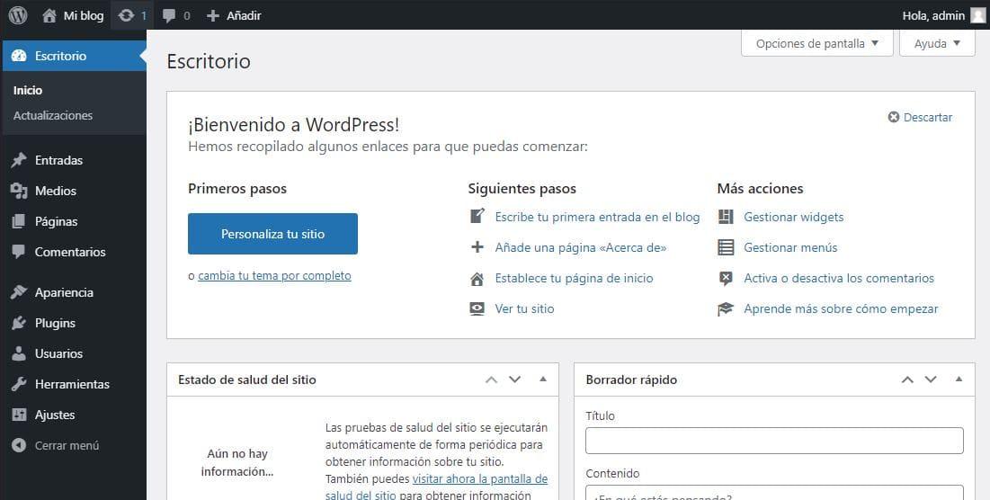 Instalación de WordPress en blanco